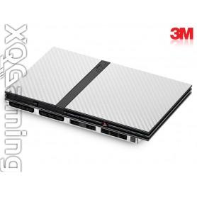PS2 slim skin Carbon Fiber White