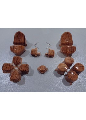 DS4 button set Wood grain Dark Brown