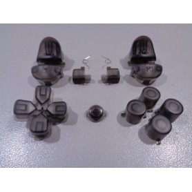 DS4 button set transparent Black Gen 1,2