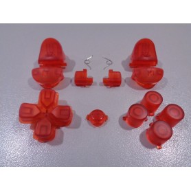 DS4 button set transparent Red Gen 1,2